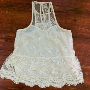 White Abercrombie & Fitch lace tank top